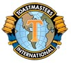 Toastmasters International emblem with the globe and two gavels